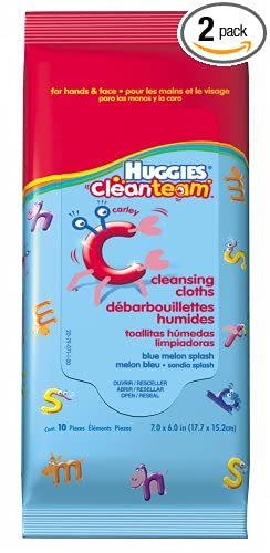 Huggies Clean Team Cleansing Cloths, Blue Melon Splash, 10-Count Packages (Pack