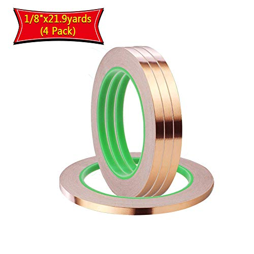 (4 Pack Copper Foil Tape,Copper Tape Double-Sided Conductive Adhesive for EMI Shielding,Slug Repellent,Paper Circuits,Electrical Repairs,Grounding(1/8