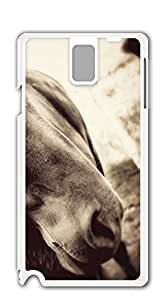 Custom Cover Case with Hard Shell Protection case for samsung galaxy note 3 for girls - Black and white long-haired European and American Mustang Horse
