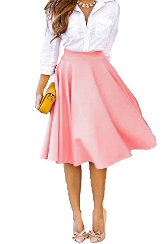 KaKing Women Pink Summer Autumn Cotton Long A Line Pleated Midi Skirts (Autumn Skirt)
