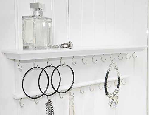 Jewelry Organizer Necklace Holder Wall Mounted White Solid Wood