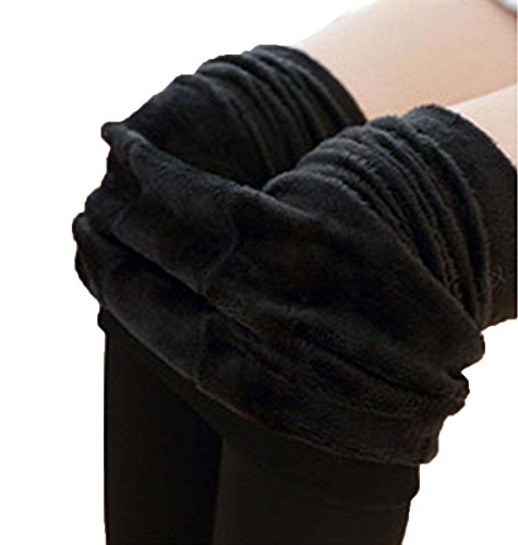 USGreatgorgeous Women Winter Thick Warm Fleece Lined Thermal Stretchy Leggings Pants Full Length Stockings (Black)