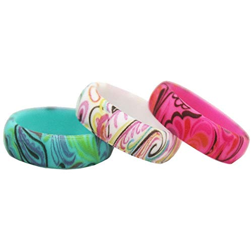 Three Pack, 6mm Width Leopard Paisley Pattern Silicone Wedding Band Ring (Paisley, 7)