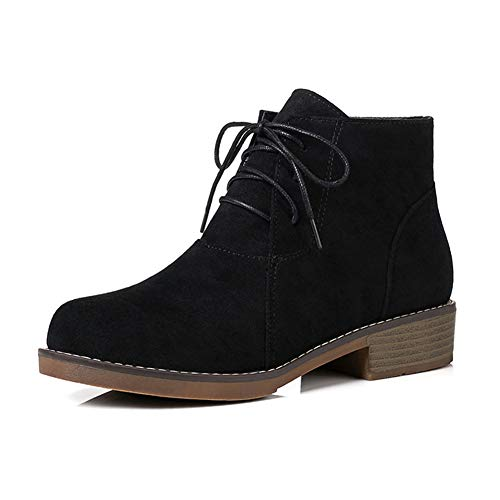 - 100FIXEO Women Faux Suede Casual Lace Up Chukka Boots (8 (B) M US, Black)