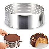 RAINBEAN Adjustable Layered Cake Cutter Slicer,9-12 Inch Stainless Steel Round Bread Cake Slicer Cutter Mold Cake Tools,Circular Baking Tool Kit Set Mousse Mould Slicing-Silver