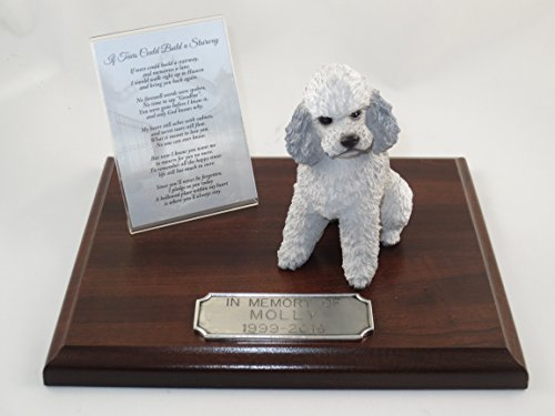 Beautiful Walnut Finished Personalized Memorial Plaque With Gray Poodle Sportcut Figurine