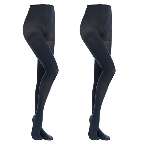 MANZI Women's 2 Pairs Opaque Control-Top Tights 70 Denier, Navy Blue, Large