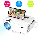 """Mini Projector, TOPVISION 2400Lux Projector with Synchronize Smart Phone Screen, Supported 1080P, 176"""" Display, 50,000 Hours Led, Compatible with Fire Stick,HDMI,VGA,USB,TV,Box,Laptop,DVD"""