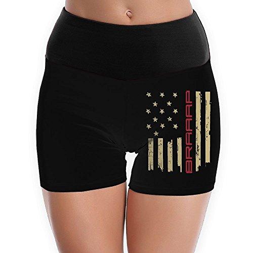TTBYOGA Braaap Motocross Dirt Bike American Flag Women's High Waist Yoga Shorts Workout Yoga Bike Short - Black Contour Jacket Motorcycle