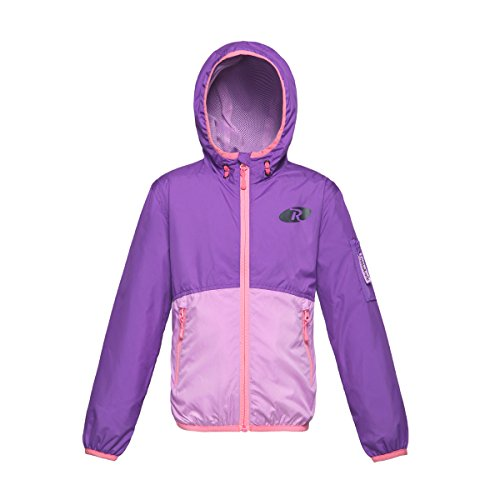 Rokka&Rolla Girls' Lightweight Water Resistant Zip-Up Hooded Windbreaker Jacket, Purple Violet Colorblock, XS(4-5)