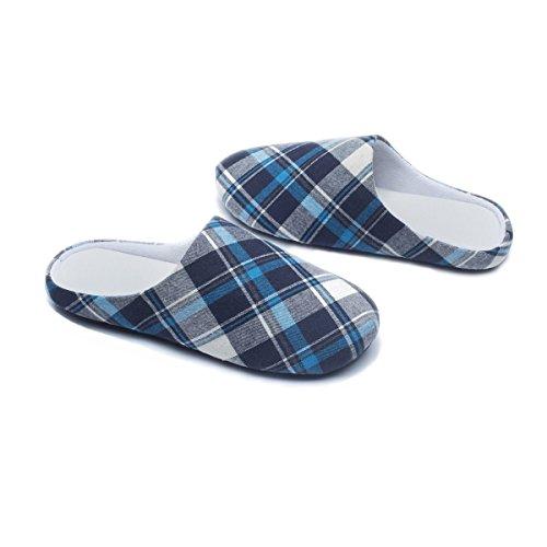 Pantofole Rosso Cotone Per Pantofole Donna E Uomo Plaid, Memory Foam Caldo Accogliente Scarpe Interne Pantofole Casa Antiscivolo Tpr Suola Blu Plaid