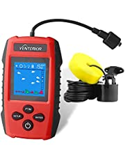 Venterior Portable Fish Finder Ice Kayak Fishing Gear Depth Finder with LCD Display and Sonar Transducer