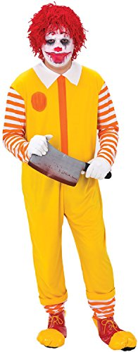 Mens Happy Killer Clown Circus Bright Crazy TV Book Film Halloween Horror Scary Circus Fancy Dress Costume -
