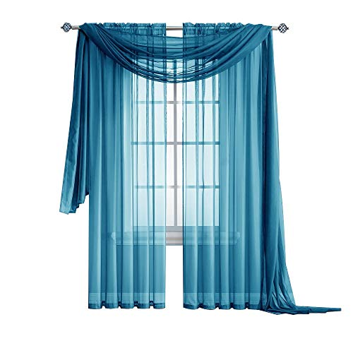 Cheap  Warm Home Designs Standard Length Turquoise Blue Sheer Window Scarf. Valance Scarves..