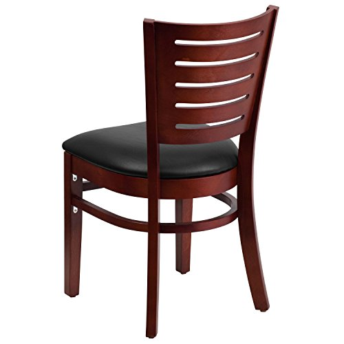 Flash Furniture Darby Series Slat Back Mahogany Wooden Restaurant Chair with Black Vinyl Seat