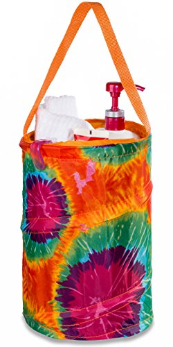 """Dorm Shower Caddy - 8"""" X 12"""" - Carry Personal Care Items Right Into the Shower. Great for College Dorm, Gyms, Camping and Travel. Folds Flat for Easy Storage When Not Needed. (Tie-Dyed Orange)"""
