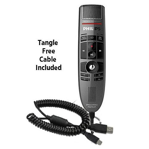 Philips LFH3500-CC SpeechMike Premium USB Precision Microphone with USB Coiled Cord - Push Button Operation