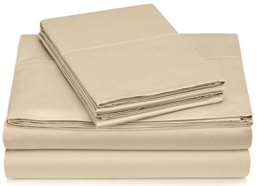Pinzon 400-Thread-Count Egyptian Cotton Sateen Hemstitch Sheet Set - Queen, Taupe - Cotton Sateen 400 Thread