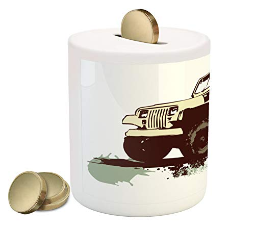 - Lunarable Grunge Piggy Bank, Retro Pop Art Style Vintage Military Car Jeep on The Road Adventure Graphic, Printed Ceramic Coin Bank Money Box for Cash Saving, Mint Brown Cream