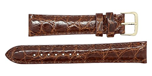 20mm Cognac Genuine Alligator - Padded Stitched – Glazed Shiny Smaller Tile – Watch Strap Band - Gold & Silver Buckles Included – Factory Direct - Made in The USA by Real Leather Creations FBA362 by Real Leather Creations (Image #2)