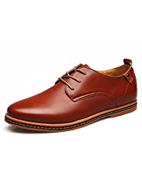 Nyngei Men's Business Oxford Dress Lace-up Casual Faux Suede Formal Flat Shoes