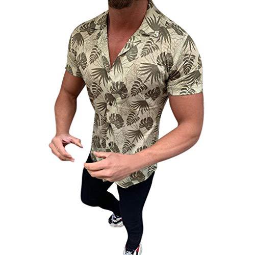 iHPH7 Shirt Beach Border Hawaiian Summer Fashion Shirts Casual Shirts Short-Sleeve Top Blouse Men (L,Green)