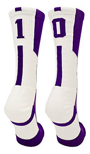 (TCK Player Id Purple/White Number Crew Socks (#10, Small))