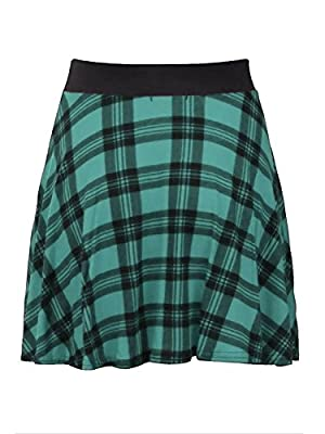 Girlzwalk Womens Check Tartan Printed Ladies Elastic Fit Waistband Stretch Short Mini Flared Skater Skirt