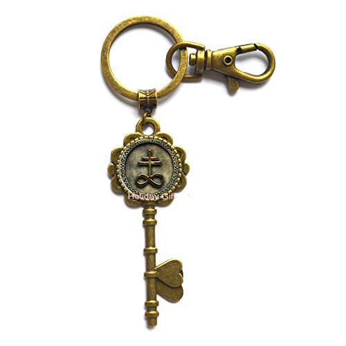 Cross Key Keychain Small Bronze Cross Jewelry Cross Charm Key Keychain Christian Brass Cross Key Key Ring Key Keychain Religious Jewelry Christian Jewelry,H135