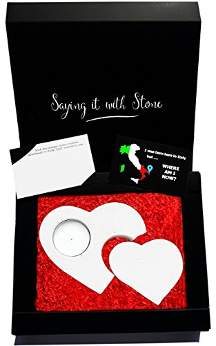 2 Hearts 2 Generations Stone Tealight Candle Holder - Gift Box, Candle & Blank Message Card All Included - Handmade in Italy - Mom Dad Son Daughter Grandma Grandpa Granddaughter Grandson Newborn Baby