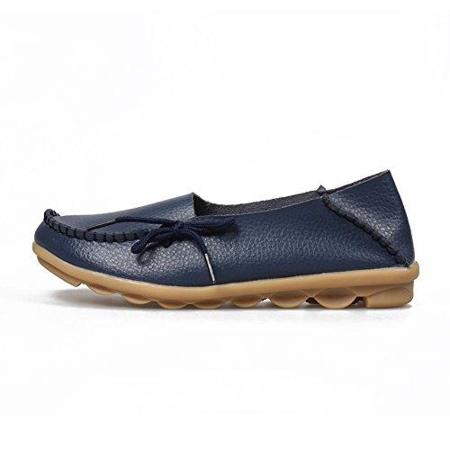Keesky Kvinna Läder Loafers Urholka Avslappnad Slip På Drivskor 03 Mörkblå