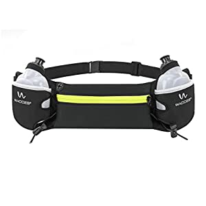 Wacces Exercise Waist Hydration Running Belt Pack - Fits iPhone 6/7 Plus Pack - with 2 BPA Free Water Bottles Yellow Zipper
