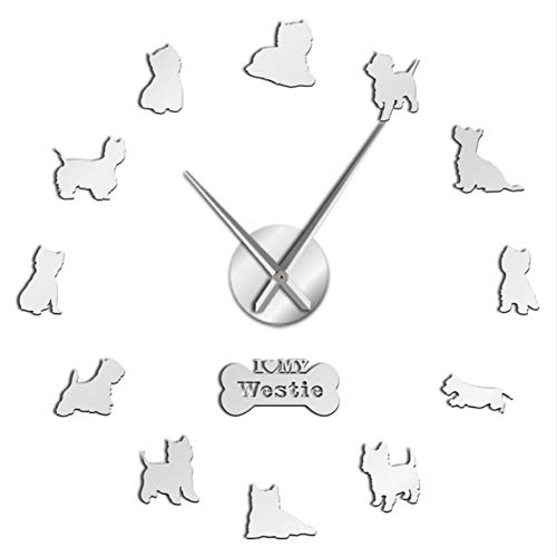 - Lifme West Highland White Terrier DIY Giant Wall Clock Mirror Effect Arylic Wall Art Pet Dog I Love My Westie Long Hands Wall Clock,27Inch