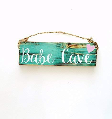 Amazon.com: WoodenSign 8x30cm , Babe Cave Girls Room Trendy ...