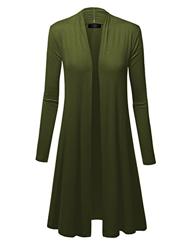 - WSK1048 Womens Solid Long Sleeve Open Front Long Cardigan L Olive