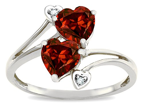 Star K 6mm Genuine Garnet Two Double Hearts Bypass Promise Ring 14 kt White Gold Size 6