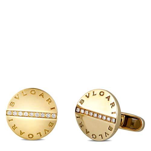 Bvlgari (Est.) Bvlgari 18K Yellow Gold Diamond Cufflinks