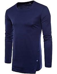 Men's Casual T Shirt Crewneck Long Tee Shirt Hem with Buttons Sweatshirt Cotton Boy T-Shirt Long Sleeve Tops