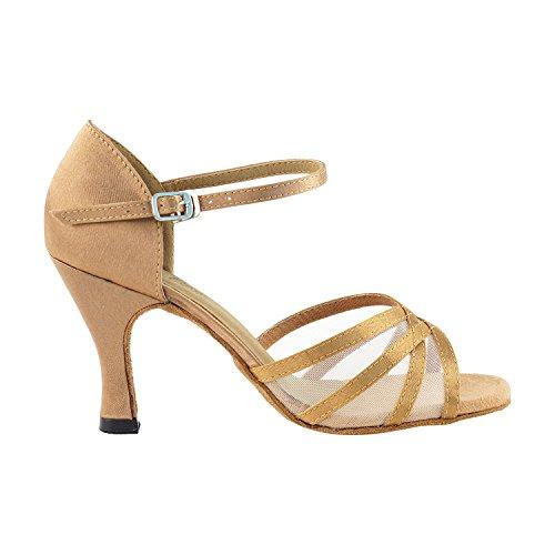 """Gold Taube Schuhe 50 Shades Of Tan Tanzkleid Schuhe Collection-III, Komfort Abend Hochzeit Pumps: Ballroom Schuhe für Latein, Tango, Salsa, Swing, Kunst von Party Party (2,5 """", 3"""", 3,5 """"Heels) 6023 Braun Satin & Silber Trim"""