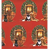 Golden Retriever, Black Cat & Mouse Fireplace Christmas Gift Wrap & Tags