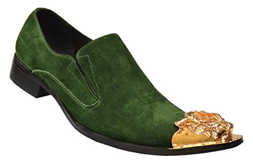 Fiesso Men's Genuine Suede Leather Metal Lion Italian Design Italy Slip-On Loafer Shoes FI6909, Green, 9