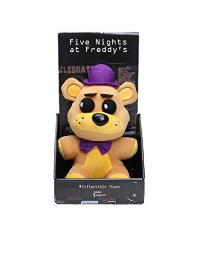 s At Freddy's FNAF Freddy Bear Foxy Chica Bonnie Plush Toys (Gold Purple Hat) ()