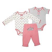 Baby Gear 3Pc Newborn Girl Tiara Long & Short Sleeve Bodysuit & Pant Set 0-3M