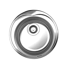 Noahs Collection Brushed Stainless Steel large round drop-in sink-Brushed Stainless Steel-WHNDA16