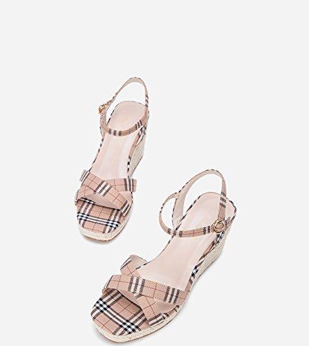 estivi a donna basso tacco Sandali Sandali piatti alti 37 con Albicocca Sandali alla tacco casual Pantofole da Tacchi basso DHG moda I6q5w