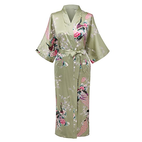 Kimono Palace Women's Japanese Traditional Peacock Silk Kimono Robe Long Floral Wedding Robes Satin Bathrobe for (Japanese Lady Kimono)