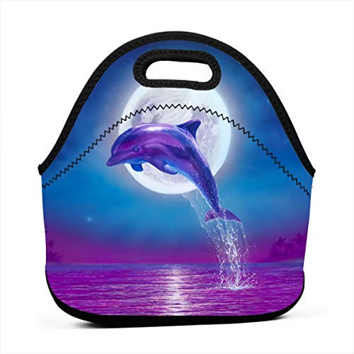 Lunch Bag Dolphin Jumping Under Moonlight Purple Blue Gourmet Lunchbox Container for Men Women Adults, Work/School/Meal Prep Lunch Container Premium Totebag Reusable Snacks Organizer (Moonlight Dolphin)