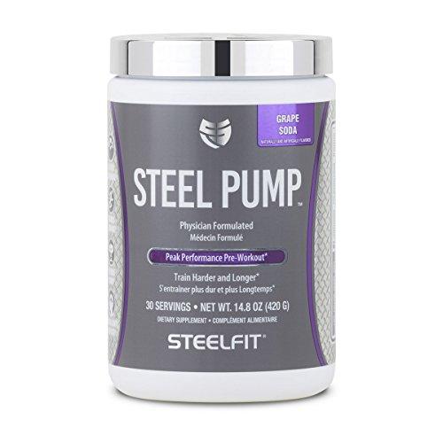 SteelFit, Steel Pump Physician Formulated Peak Performance Workout, Train Harder and Longer, 30 Servings (Grape Soda)