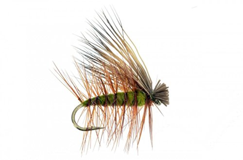 Feeder Creek Fly Fishing Trout Flies Assortment - Elk Hair Caddis Olive - Hand Tied Trout Fly Pattern - 4 12,14,16,18 - One Dozen by (12)