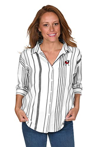 UG Apparel NCAA Georgia Bulldogs Striped Button-Up, Black/White, Small (Clothing Georgia)